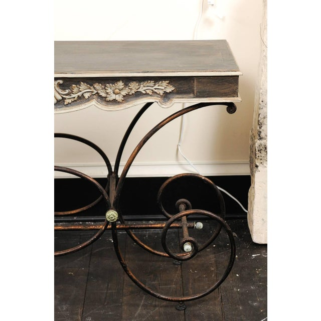 Mid 20th Century Vintage French Baker's Table With Painted Wood Top and Scrolled Iron Base For Sale - Image 5 of 11