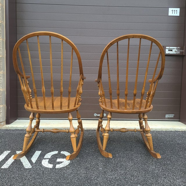 Wood Ethan Allen Circa 1776 Solid Maple Bowback Windsor Rocking Chairs - a Pair For Sale - Image 7 of 13