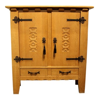 Vintage Hand-Crafted Mission Style Oak Cabinet For Sale