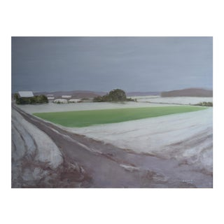 """""""Green Field in Snow"""" Painting"""