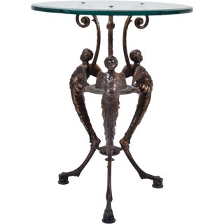 Hanau Zimmerman Foundry Bronze Patinated Iron Cherub Putti Tripod Table