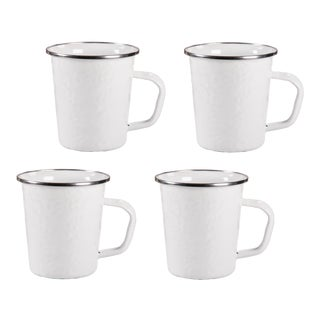 Latte Mugs White on White - Set of 4 For Sale