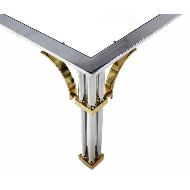 Brass Large Square Mid-Century Modern Brass Chrome and Glass Coffee Table For Sale - Image 7 of 9