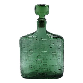 Green Glass Decanter With Stopper, C. 1970 For Sale