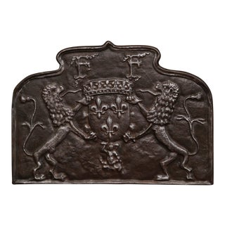 18th Century French Iron Fireback With Coat of Arms and Fleurs-De-Lys For Sale