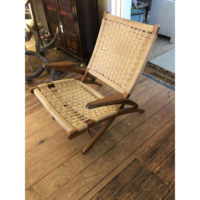 Organic Mid Century Modern Woven Rope and Teak Folding Armchair For Sale - Image 12 of 12