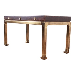 Mastercraft Hollywood Regency Chinoiserie Faux Tortoise Shell and Brass Writing Desk For Sale