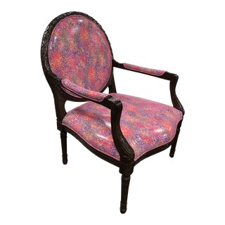 Italian Hand Carved Accent Chair For Sale