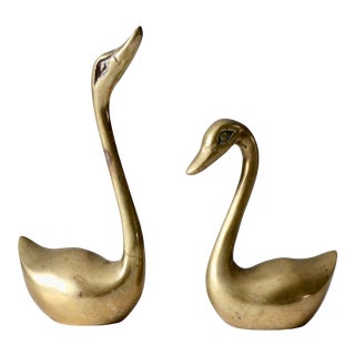 Mid-Century Brass Swan Figurines - a Pair For Sale