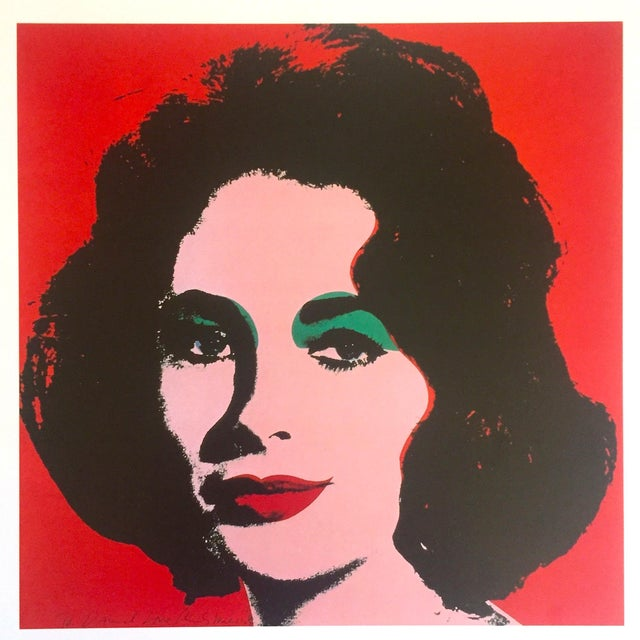 "Andy Warhol Andy Warhol Estate Rare 1989 Collector's Lithograph Pop Art Print "" Liz Taylor "" 1964 For Sale - Image 4 of 10"