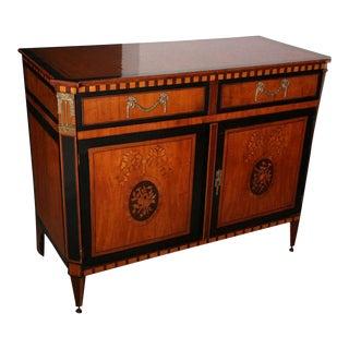 Dutch Neoclassic Sycamore, Ebonized Marquetry Credenza