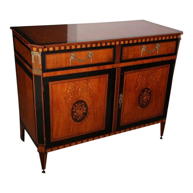 Dutch Neoclassic Sycamore, Ebonized Marquetry Credenza For Sale