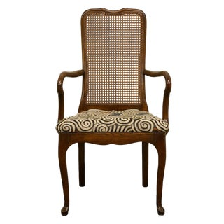 Davis Cabinet Solid Cherry Cane Back Dining Arm Chair For Sale