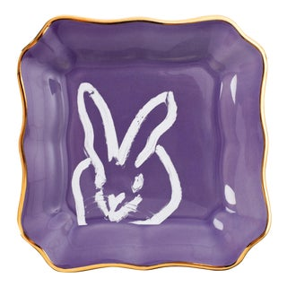 Lilac Bunny Portrait Plate With Gold, Hunt Slonem For Sale