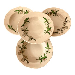 Vintage Syracuse China Park Lane Dogwood Pattern Set of 4 Dinner/ Pasta Bowls For Sale