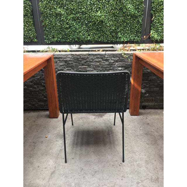Modern Black Woven Outdoor Dining Chairs - Set of 4 - Image 7 of 8