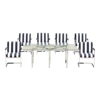 Milo Baughman for Thayer Coggin X Base Chrome Dining Set - 7 Pieces For Sale