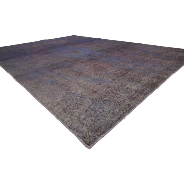 60787 Distressed Vintage Turkish Overdyed Rug With Contemporary French Industrial Style - 08'00 X 11'01. Combing a...