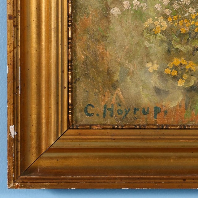 "Green Original Antique ""Shore Birds in a Marsh"" Landscape Painting Signed C. Hoyrup For Sale - Image 8 of 10"