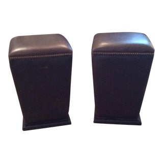 Modern Lee industries Leather Barstools- A Pair For Sale