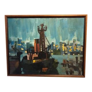 1960s Harbor Scene Cityscape Oil Painting, Framed For Sale