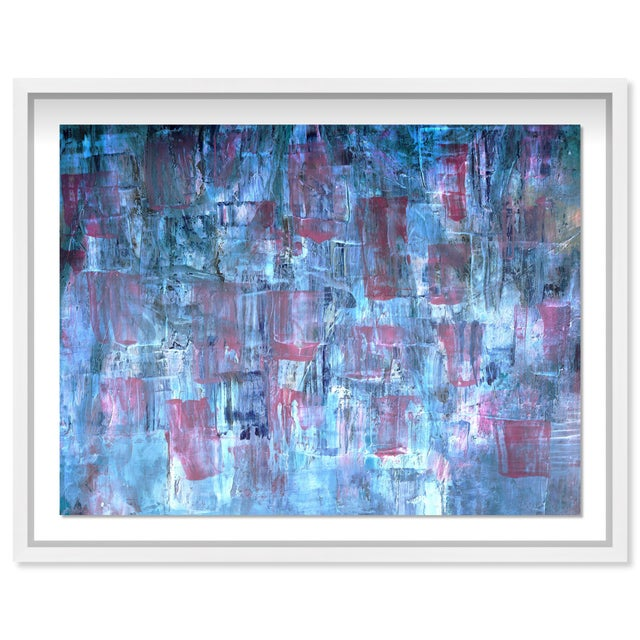 """Printmaking Materials Oliver Gal Medium 'Blue Lavender Waterfall' Framed Art 26"""" x 20"""" For Sale - Image 7 of 7"""