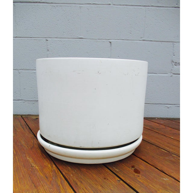 This is a beautiful mid century modern California pot in off white, cream, clean-lined, thick-walled and a modernist...