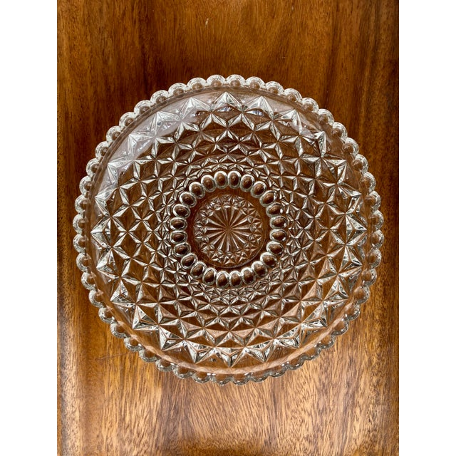 Vintage clear glass low bowl with geometric textured design on the outside. So many uses! Show off your collection of...