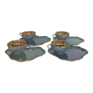 Vintage Peach and Blue Iridescent Lusterware Tea Cups and Snack Plates - Set of 8 For Sale