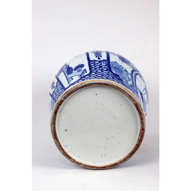 Early 20th Century Vintage Blue White Temple Jar For Sale - Image 12 of 13
