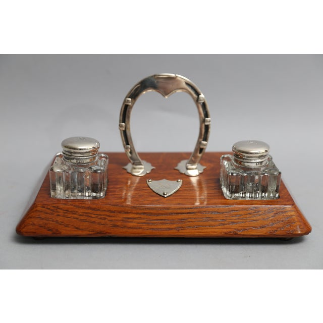 Antique English Equestrian Desk Set, Inkwells Circa 1910 For Sale - Image 9 of 9