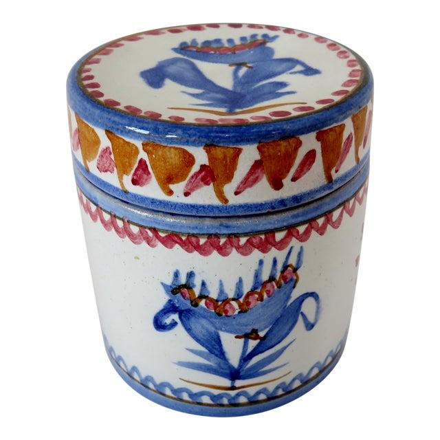 Handpainted Italian Ceramic Container For Sale