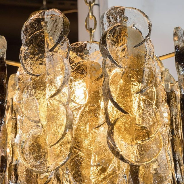 Gold Murano Glass Chandelier Designed by J.T. Kalmar of Austria, Fabricated by Seguso For Sale - Image 8 of 9