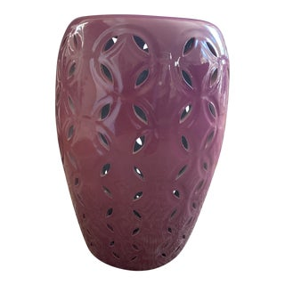 Plum Reticulated Ceramic Chinoiserie Garden Stool For Sale