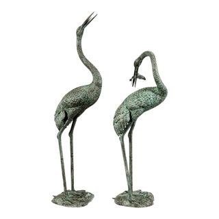 1970s Bronze Cranes with Fish Sculptures - a Pair For Sale