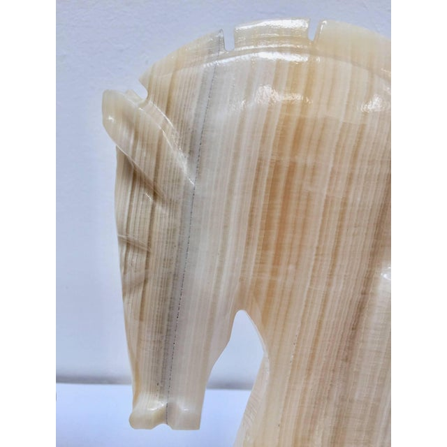 Gemstone Pair of Art Deco Onyx Horses Heads Bookends For Sale - Image 7 of 10