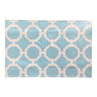 White & Blue Roundabout Canvas Rug - 2' × 3′ For Sale