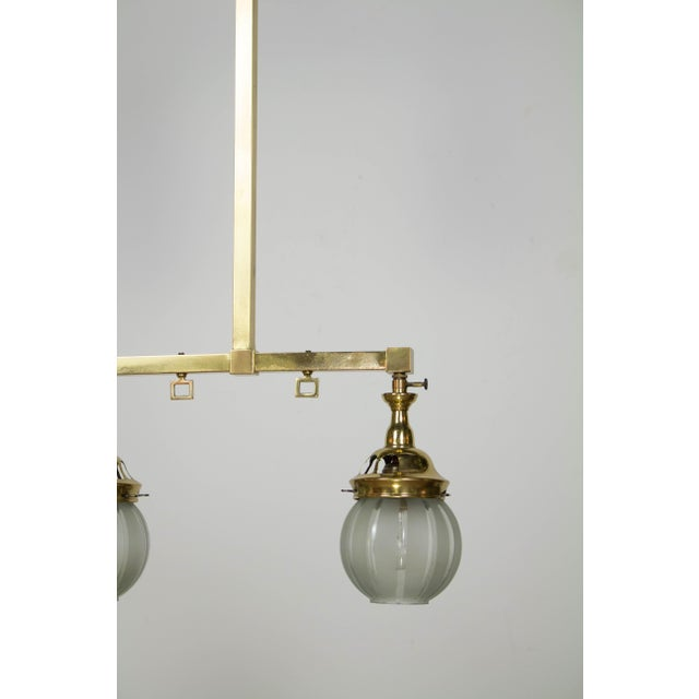 Mission Two Light Welsbach Gas Chandelier with Original Round Shades For Sale - Image 3 of 5