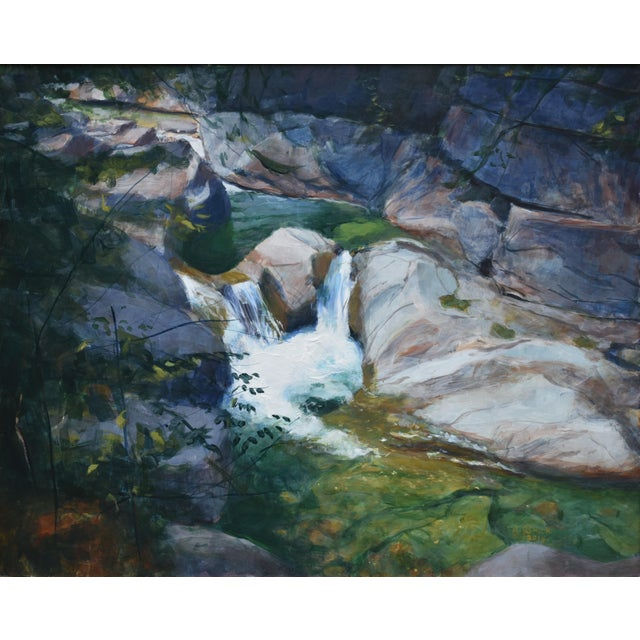"""Stephen Remick """"Vermont Waterfall, Warren Falls"""" Contemporary Painting For Sale - Image 11 of 11"""