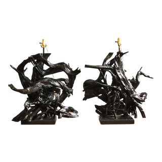 Vintage 1950s Monumental Driftwood Lamps in Gloss Black - a Pair For Sale