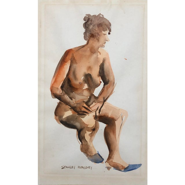 Seated Female Nude Watercolor by Stanley Brodey, C. 1950s For Sale