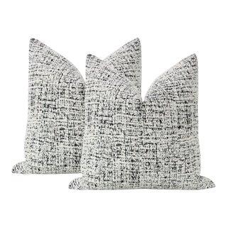 """22"""" Urban Bouclé Noir Pillows - a Pair For Sale"""