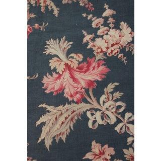 French Antique Blue Cretonne Fabric Belle Epoque For Sale