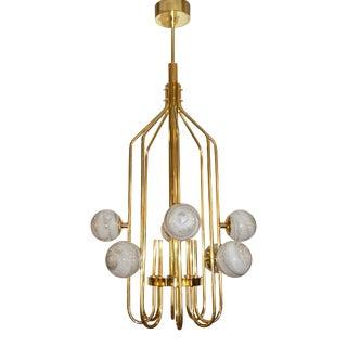 Bespoke Italian Alabaster White Murano Glass Brass Curved Globe Chandelier For Sale