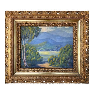 California Plein Air Impressionist Oil Painting in Baroque Frame, Early 20th C. For Sale