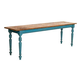 Antique Long Original Blue Painted Farm Table Dining Table For Sale