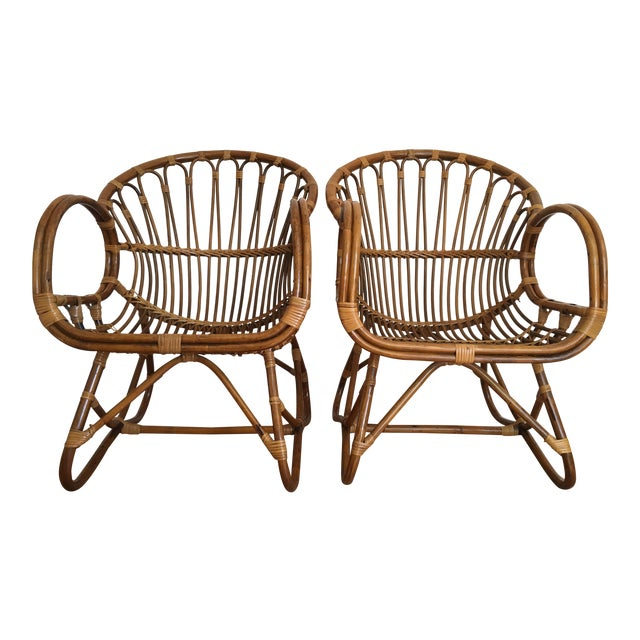 1960s Franco Albini Style Scoop Chairs - Pair For Sale