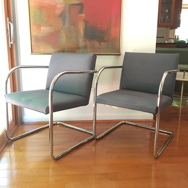 Mid-Century Modern Mies Van Der Rohe for Thonet Brno Chairs - a Pair For Sale - Image 3 of 13