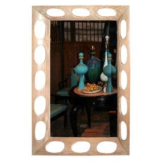 1950s Vintage Limed Oak Framed Mirror For Sale