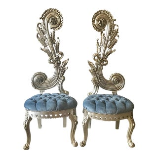 French Blue/Silver Baroque Chairs - a Pair. Made to Order For Sale